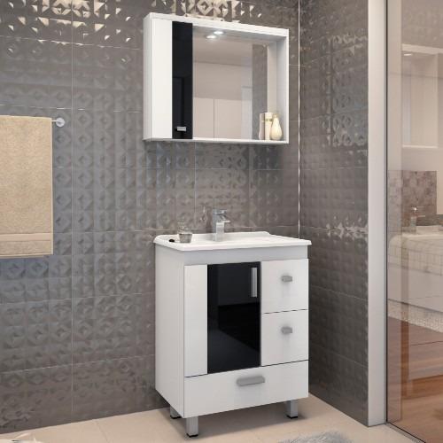 gabinete para banheiro com pés espelheira e tampo gaam vitra