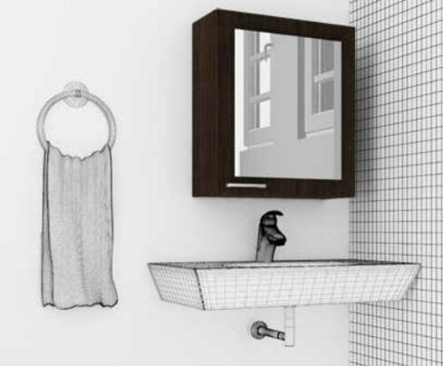 Gabinete para ba o con espejo blanco bs for Gabinetes de bano en madera