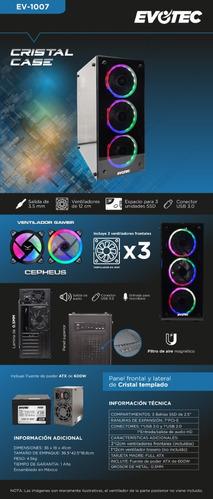 gabinete pc gamer atx doble cristal 3 fan  fuente 600w naceb