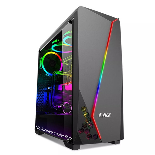 gabinete pc gamer atx lnz lz40 ventana usb 3.0 rgb no fuente