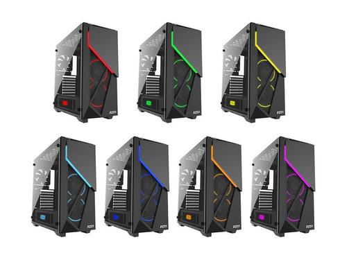 gabinete pc gamer azza inferno 310 vidrio templado 2 fan rgb