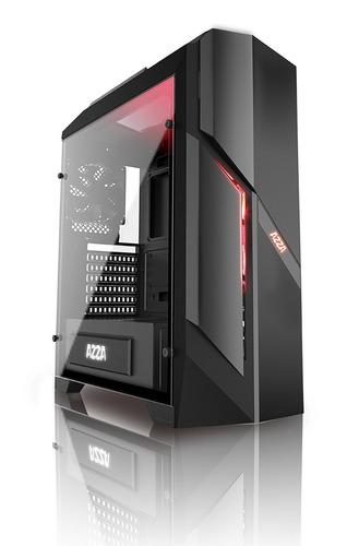 gabinete pc gamer azza photios250 vidrio templado 2 x fan