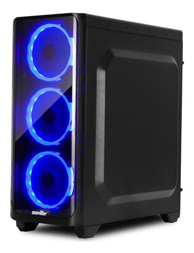 gabinete pc gamer sentey j20 4 x fan blue vidrio templado