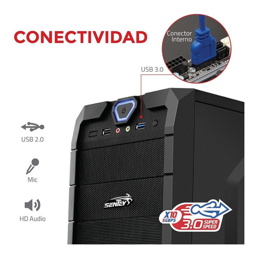 gabinete pc gamer sentey stealth 2 coolers blue + fuente xcp630 watts reales
