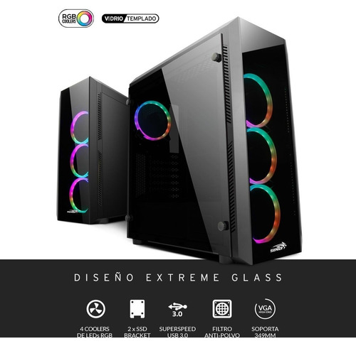 gabinete pc gamer sentey z20 4 x fan rgb vidrio templado