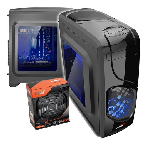 gabinete pc sentey gamer furious led + fuente lnz650w 6 pcie