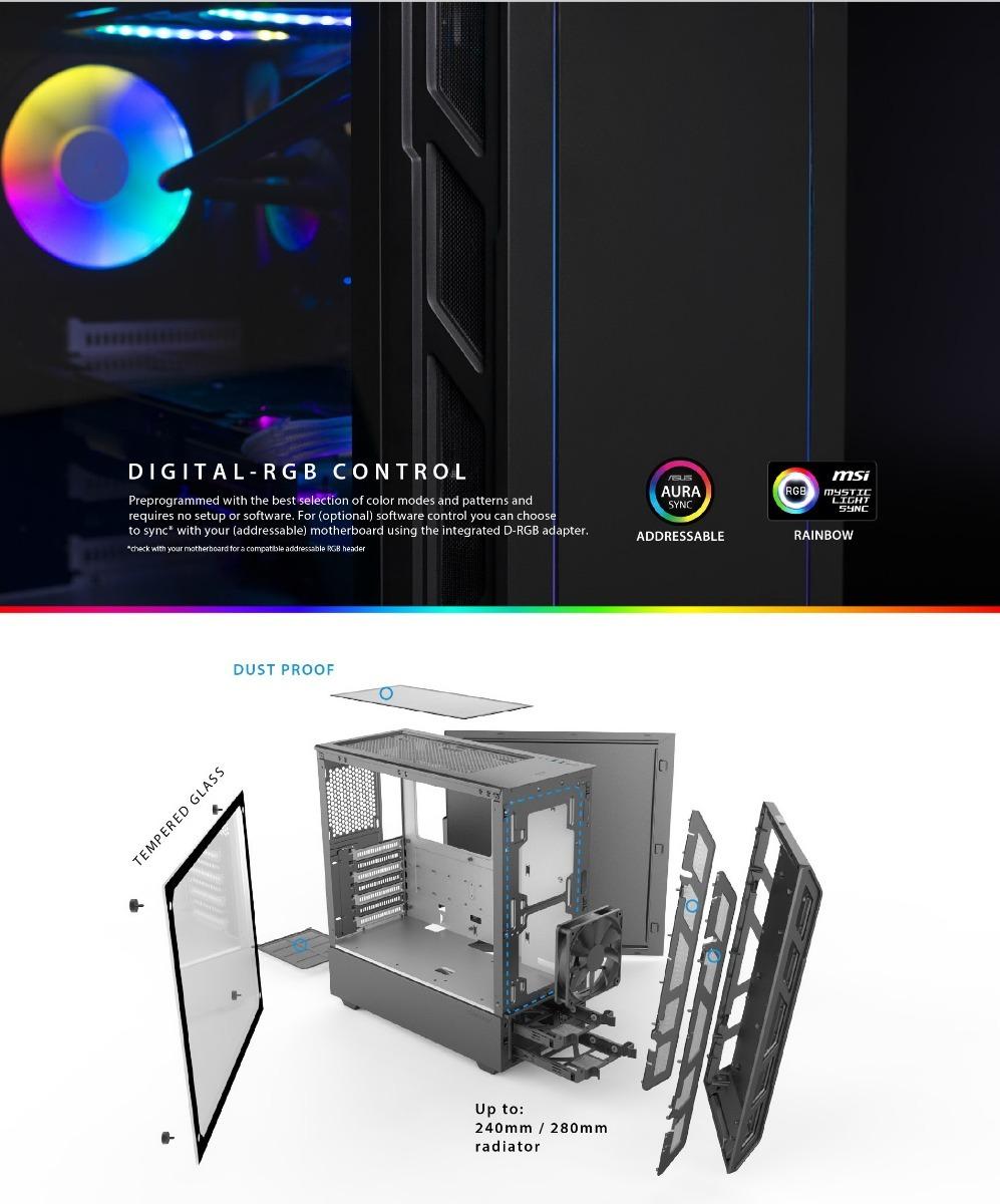 Gabinete Phanteks Eclipse P350x Leds Rgb Digitales Vidrio T