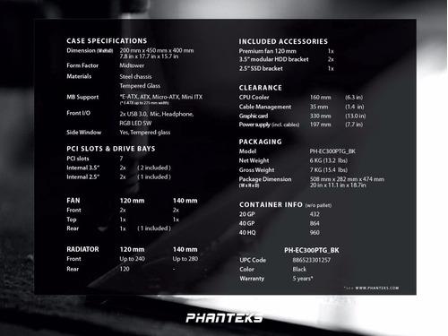 gabinete phanteks p300 vidrio templado rgb con envío!!!