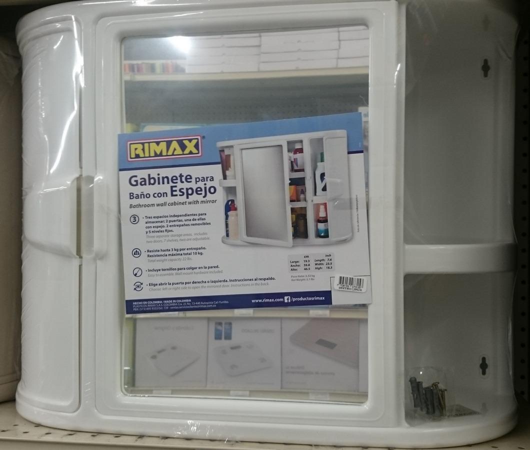 Gabinete pl stico para ba o con espejo u s 32 50 en for Revestimiento plastico para banos