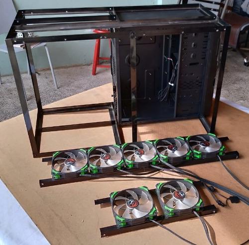 gabinete / rig mineração p/ até 8 gpus e 2 fontes preto