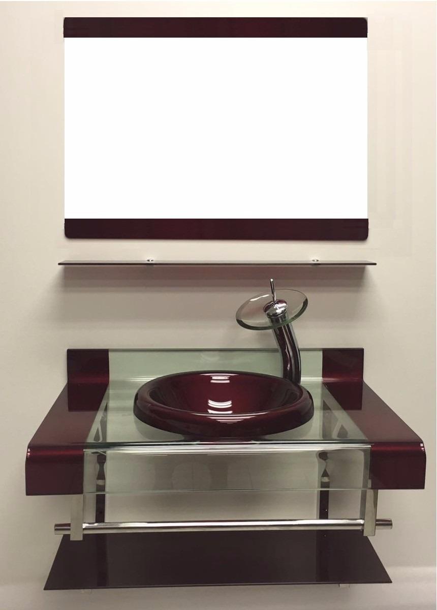 Gabinete Vidro 2 Faixas 80cm Vermelho + Misturador + Kit Ace  R$ 1299,00 em -> Cuba Para Banheiro De Vidro Vermelho