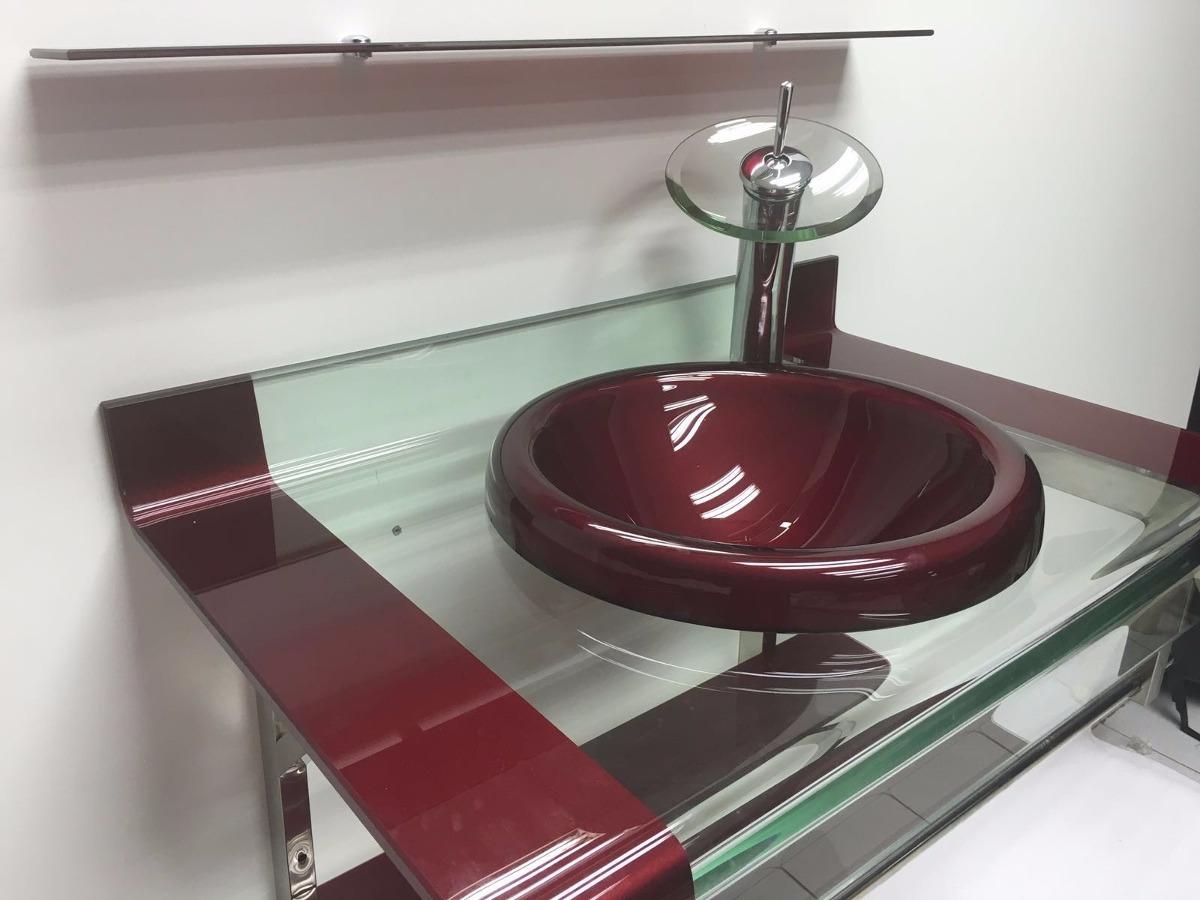 Gabinete Vidro 2 Faixas 80cm Vermelho + Misturador + Kit Ace  R$ 1299,00 em -> Pia De Banheiro Acrilico