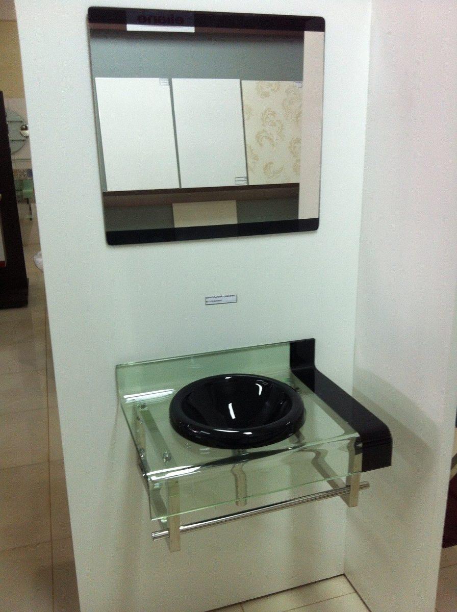 Banheiro decorado com gabinete de vidro : Gabinete vidro cm banheiro preto misturador kit ace