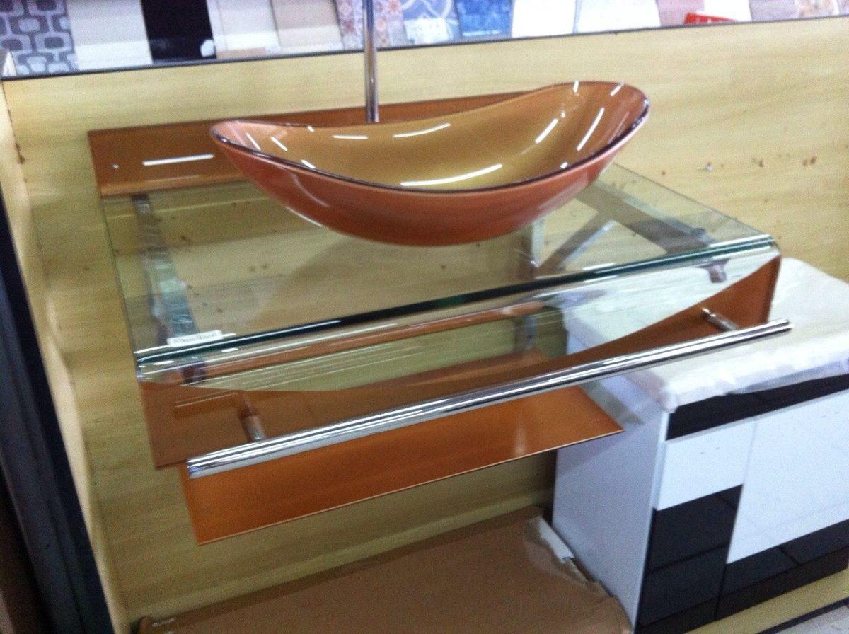 Gabinete Vidro Banheiro 70 Cm Dourado + Misturador Dourado  R$ 1048,00 em M -> Gabinete De Banheiro Tampo De Vidro