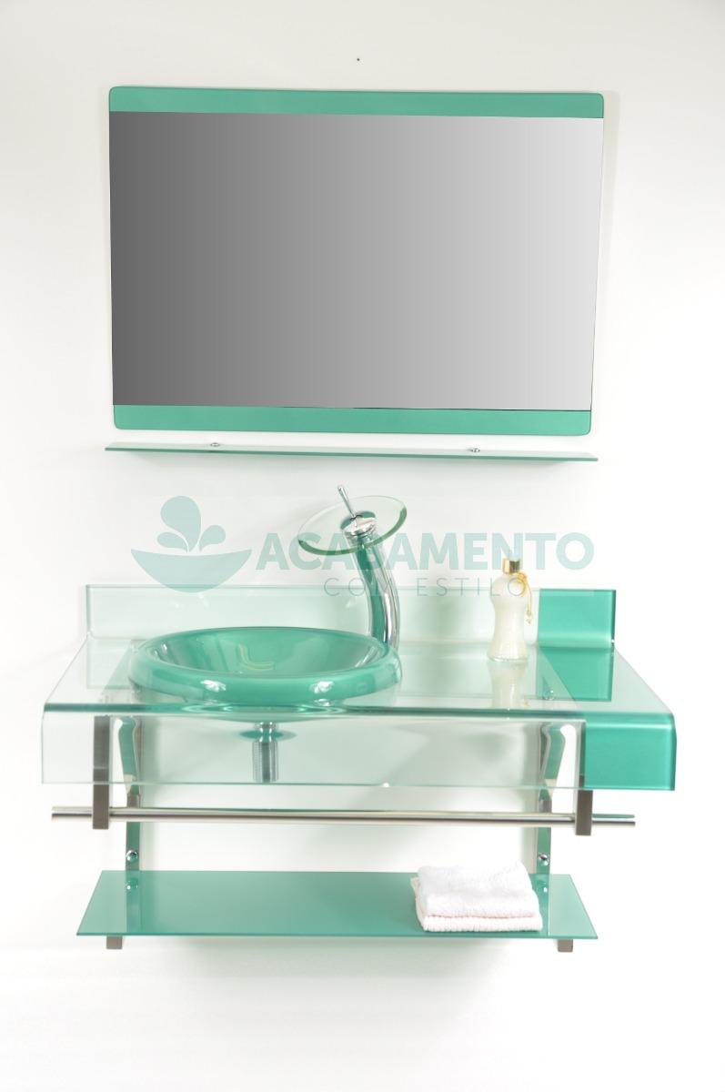 Gabinete Vidro Banheiro 90cm Verde  R$ 949,00 em Mercado Livre -> Gabinete De Banheiro Verde