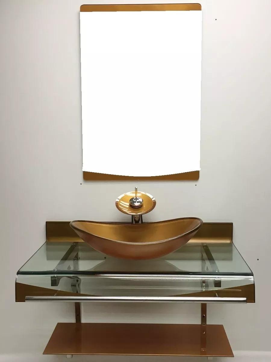 Kit Bancada Banheiro Vidro : Gabinete vidro cuba oval dourado cm misturador kit