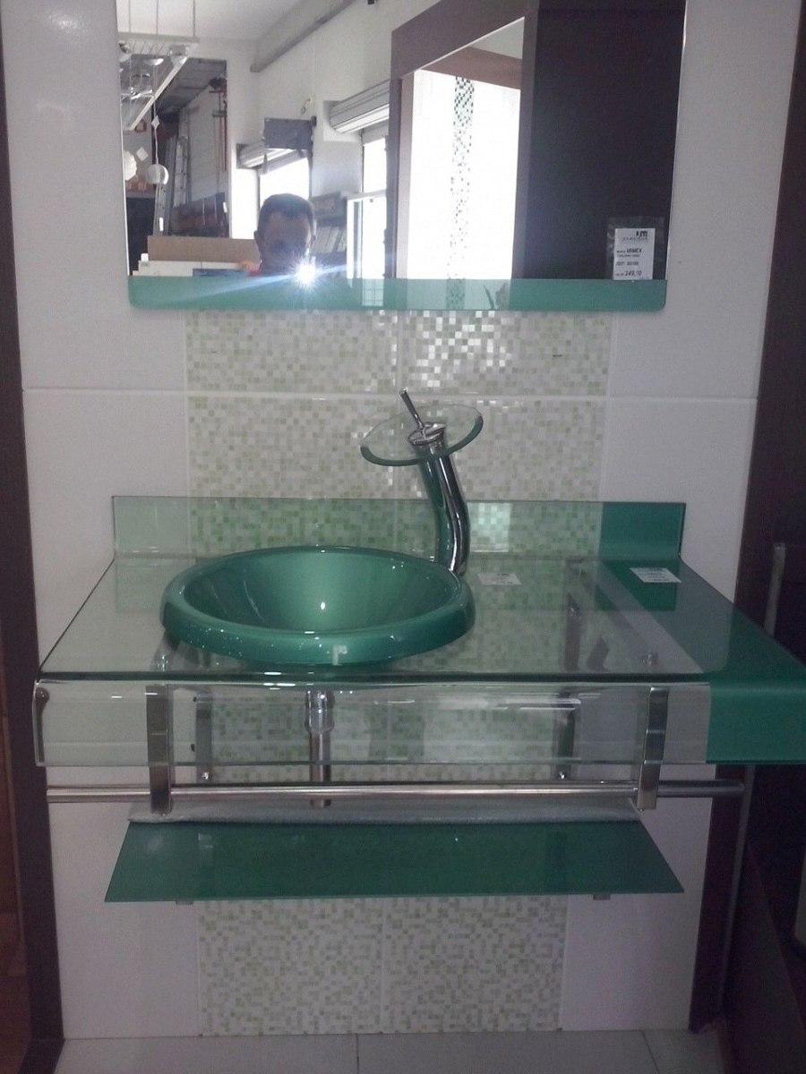 Kit Bancada Banheiro Vidro : Gabinete vidro verde cm misturador kit