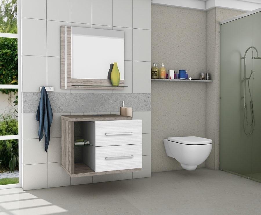 Gabinetearmário Banheiro Com Espelheira Milão Vanilla  R$ 399,90 em Mercado -> Armario Para Banheiro Na Dicico
