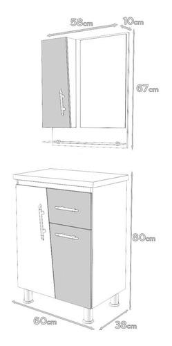gabinete/armário banheiro kit pisa 60cm cuba de apoio prada