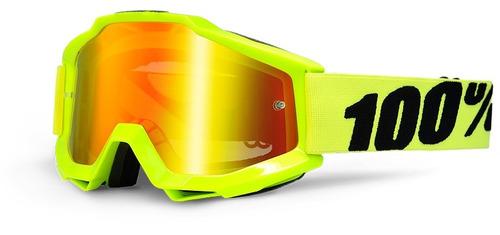 gafas 100% accuri mx juvenil lente espejado/amarillo fosfor.
