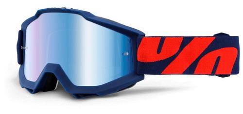 gafas 100% accuri raleigh mx azul/naranja/lente espejado