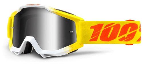 gafas 100% accuri zest mx amaril/naran/plateado lente espejo