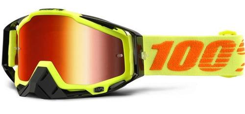 gafas 100% racecraft 2016 mx c/lente espejado amarillo/rojo