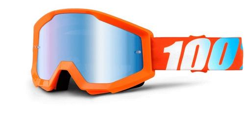 gafas 100% strata mx lente azul espejado/naranja