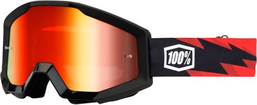 gafas 100% strata mx lente espejado/negro/rojo