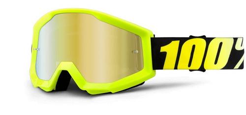 gafas 100% strata mx neón lente espejado/amarillo/oro