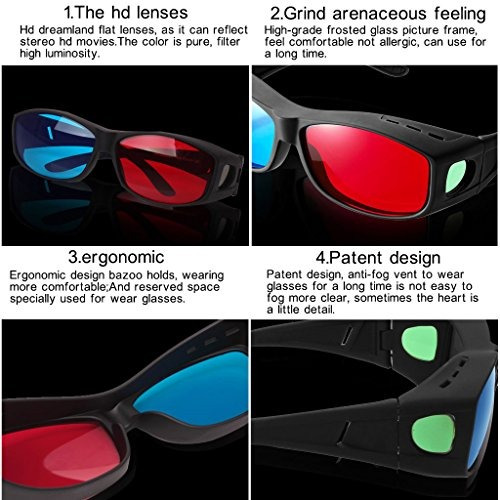 gafas 3dbial gafas 3d rojo-azules  cyan anaglyph estilo s..