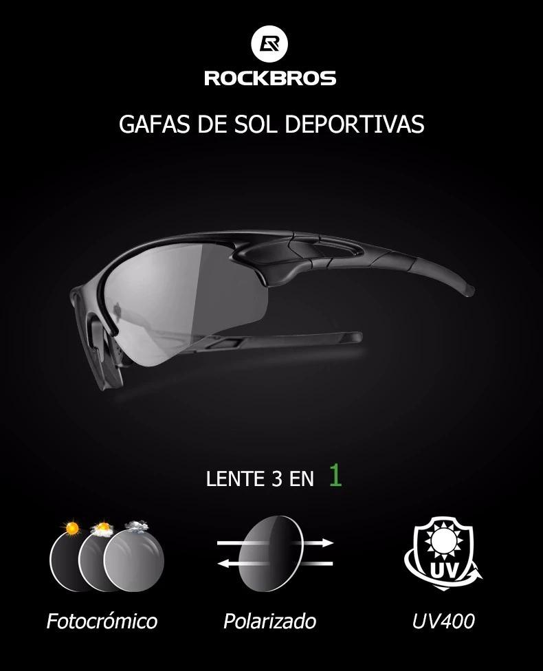 gafas 3en1 polarizadas fotocromáticas uv400 rockbros+parches. Cargando zoom. a176af537e02