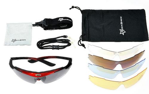 gafas biclicleta rockbros + 5 lentes + polarizado uv 400