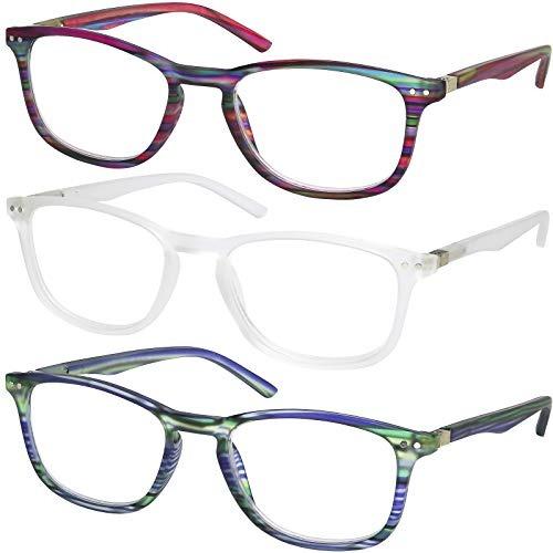 6cdee3aee4 Gafas De Lectura De 3 Pares De Lectores De Diseño De Rayas ...