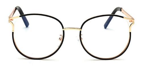 gafas de marco dorado borde negro mujer lente elegante