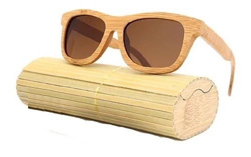 gafas de sol total en madera uv400 + estuche madera bambu