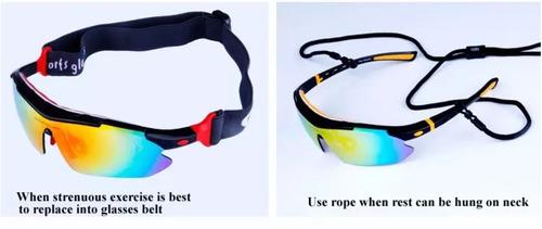 gafas deportivas 5 lentes ciclismo uv400 polarizadas estuche