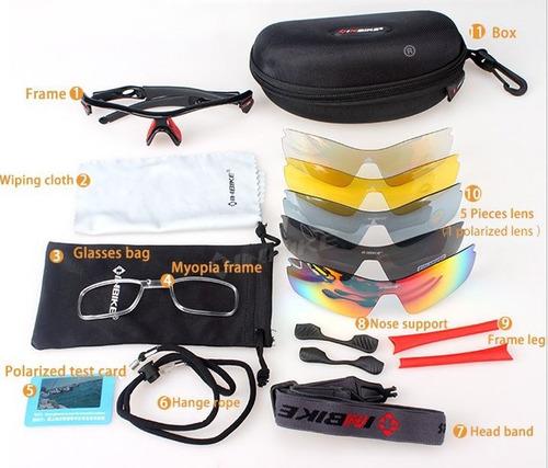 gafas deportivas inbike uv400 5 lentes incluye polarizado