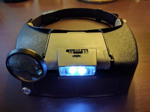 gafas diadema lupa cabeza con luz led y 3 lentes
