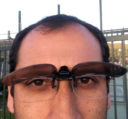 gafas / lentes clip-on de sol estuche protector