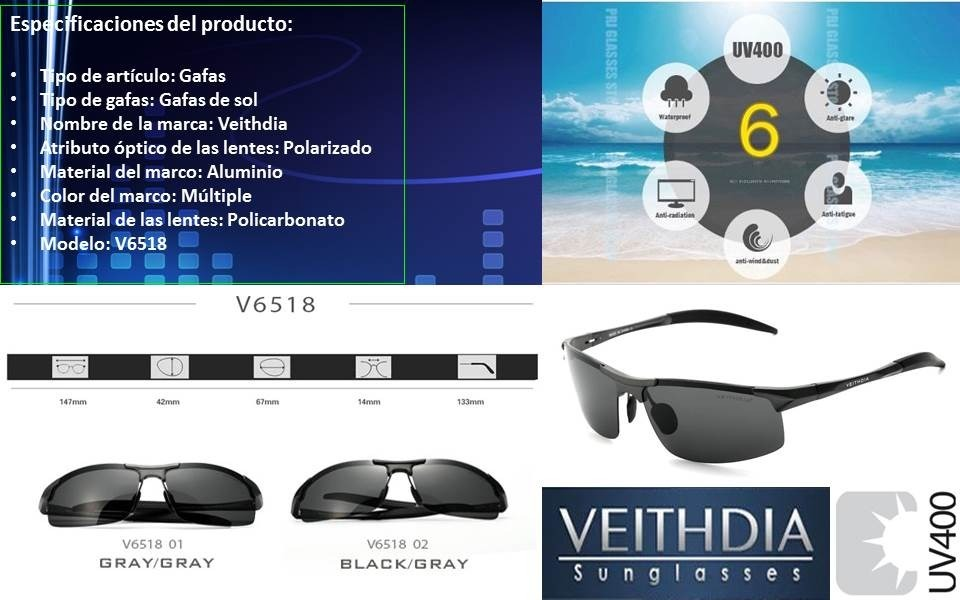 67a0cd60d0 Gafas Lentes De Sol Veithdia 6518 - S/ 70,00 en Mercado Libre