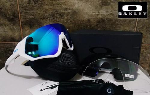 gafas oakley flight jacket bicicleta 3 lentes nueva