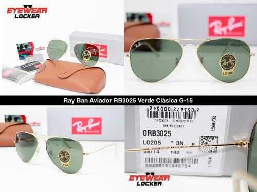 gafas ray ban aviador rb3025 100% originales