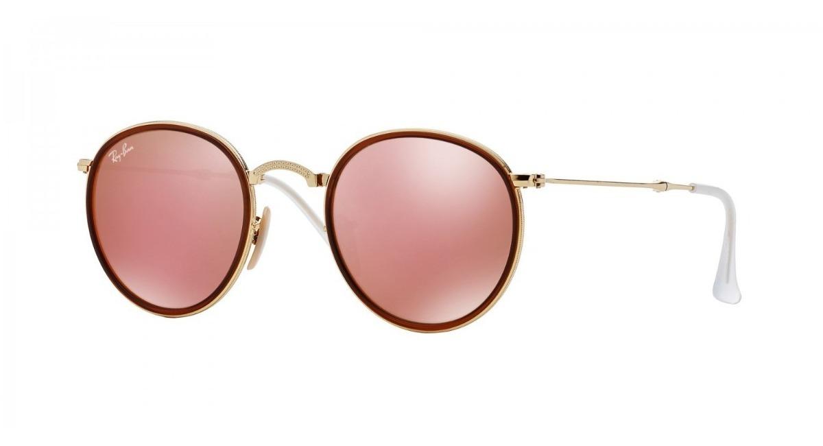 dac8966f09258 gafas ray ban round metal folding 3517 rosa espejado italia. Cargando zoom.