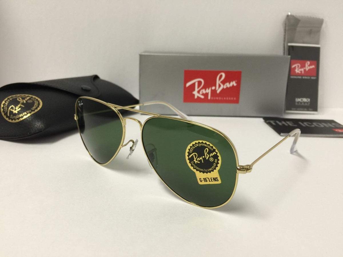 Gafas Rayban Aviador Rb3025 Marco Dorado Luna Verde En Stock - U$S ...