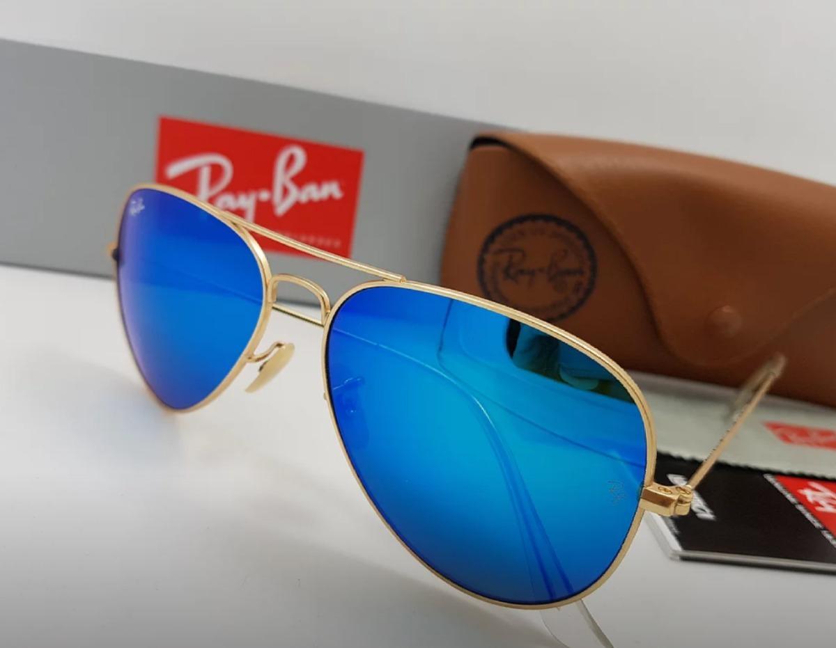 307c5f78b gafas rayban piloto 58mm marco dorado lente azul espejo. Cargando zoom.