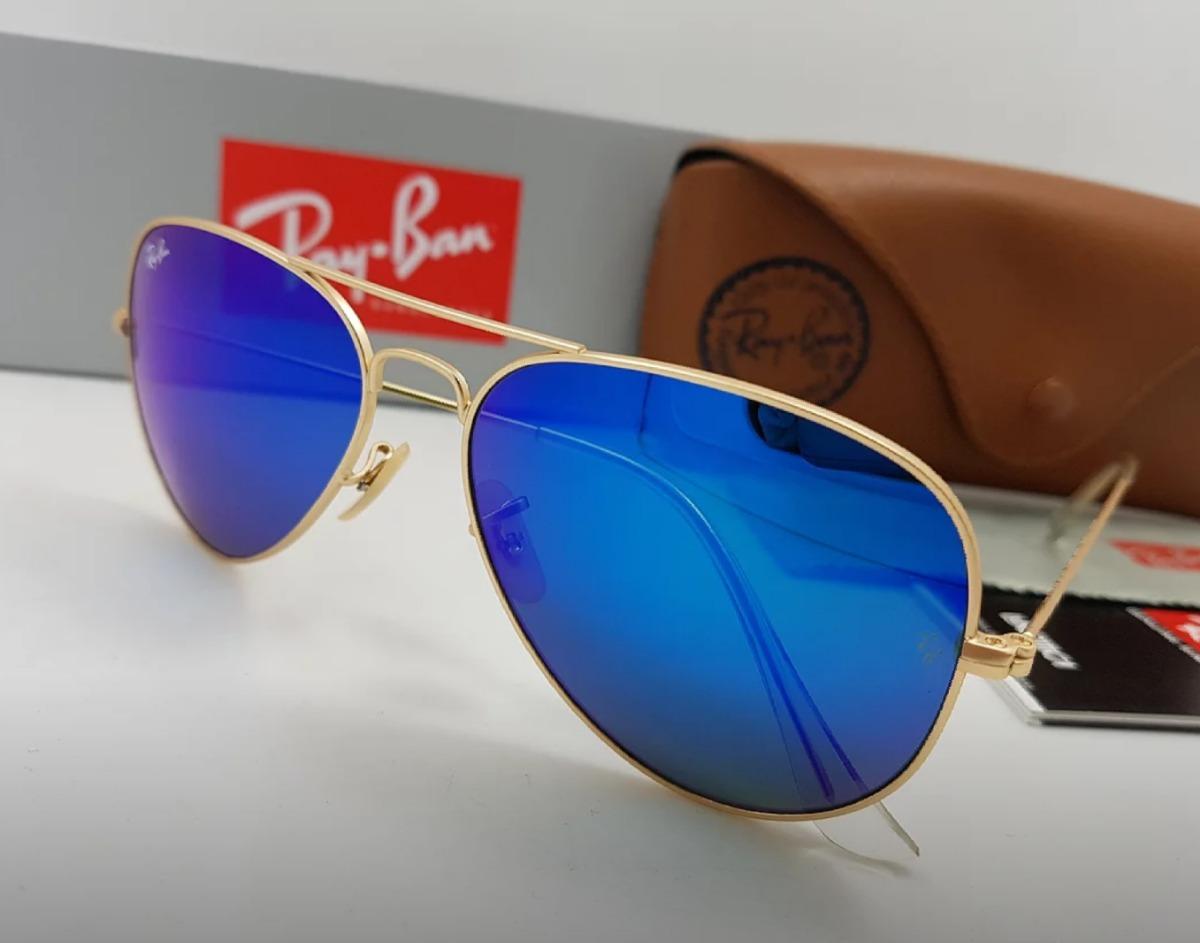 fe029b070 gafas rayban piloto 58mm marco dorado lente azul oscu espejo. Cargando zoom.