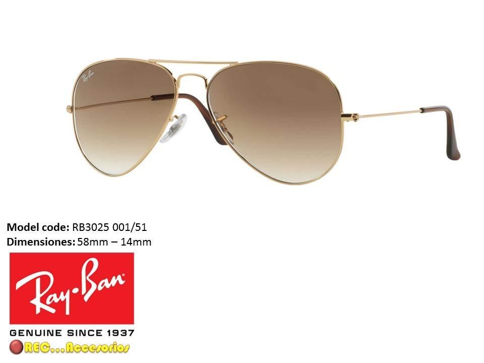 Gafas Rayban Piloto Rb3025 Lente Cafe 58mm Originales - $ 159.900 en ...