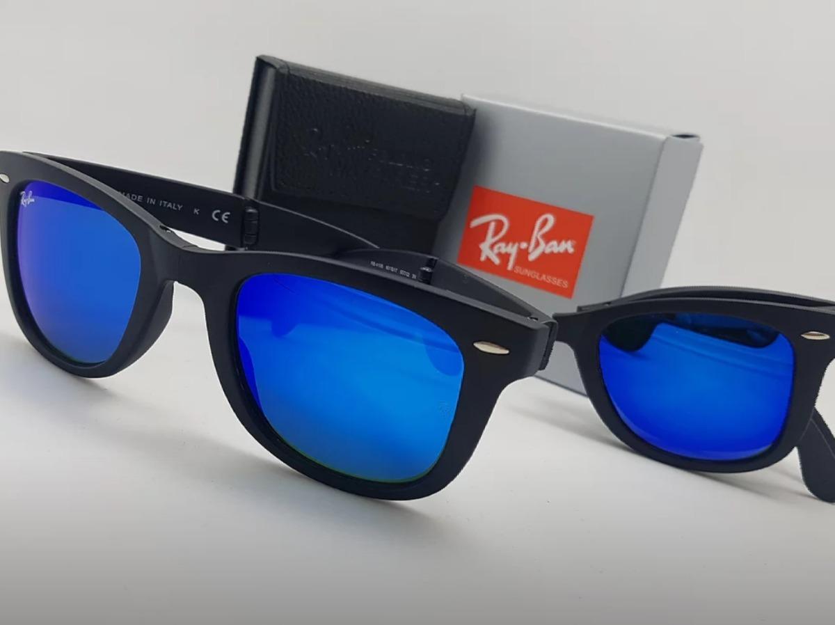 84f9acdaa6 gafas rayban wayfarer folding negras lente azul espejo dobla. Cargando zoom.