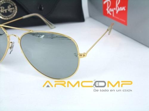 gafas rb3025 marco dorado luna tipo espejo en stock